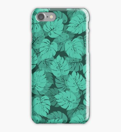 Big Monstera Tropical Leaf Hawaii Rain Forest Teal, Aqua and Green iPhone Case/Skin
