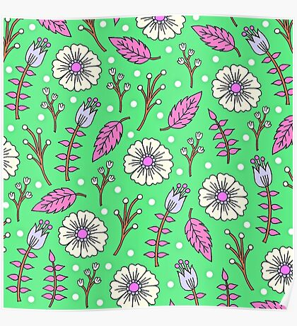 Spring Blossoms in Green Poster