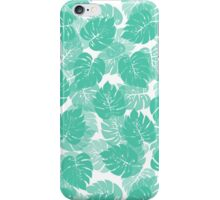 Big Monstera Tropical Leaf Hawaii Rain Forest Aqua on White iPhone Case/Skin