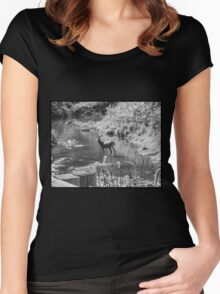 Deer Pose black and White Women's Fitted Scoop T-Shirt