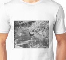 Deer Pose black and White Unisex T-Shirt