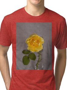 Single Yellow Rose with Blue Tri-blend T-Shirt
