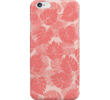 Big Monstera Tropical Leaf Hawaii Rain Forest Shell Pink on Baby Pink iPhone Case/Skin