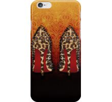 Leopard Louboutin on Gradient orange black arabesque  iPhone Case/Skin