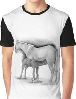 Foal and Mare, Horse Mother and Baby, Pencil Drawing Graphic T-Shirt