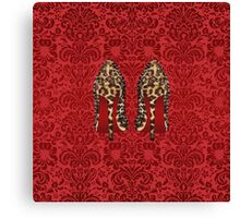 Leopard Louboutin on Red damask background Canvas Print