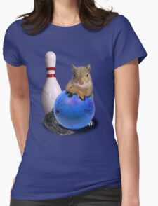 Bowling Squirrel Womens Fitted T-Shirt