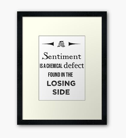 Sherlock Holmes sentiment quote [black and white] Framed Print