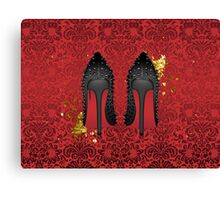 Louboutin on Red damask background with GOLD splatters Canvas Print