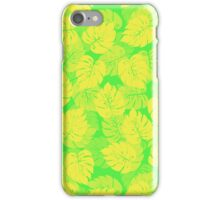 Big Monstera Tropical Leaf Hawaii Rain Forest Lemon Yellow and Lime Green  iPhone Case/Skin