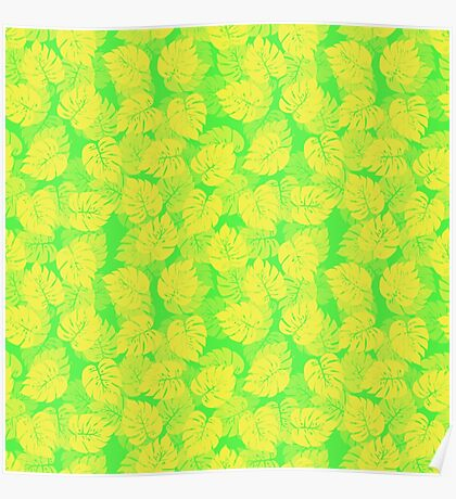Big Monstera Tropical Leaf Hawaii Rain Forest Lemon Yellow and Lime Green  Poster