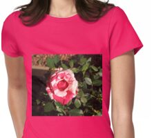 Bi-color Beauty - Pretty Pink and White Miniature Rose Womens Fitted T-Shirt