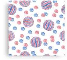 Striped and single-color ball's pattern Canvas Print