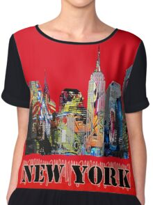 New York City in Graffiti Chiffon Top