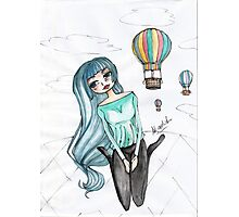 Girls and balloons - Manga Photographic Print