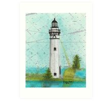 Outer Island Lighthouse WI Nautical Map Cathy Peek Art Print