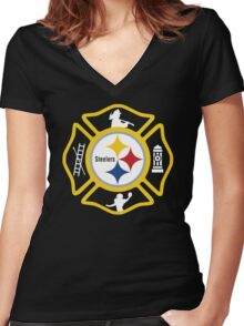 Pittsburgh Fire - Steelers Style Women's Fitted V-Neck T-Shirt