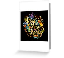 Read More Books - Floral Gold - Black Greeting Card