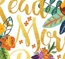 Read More Books - Floral Gold - Black Sticker