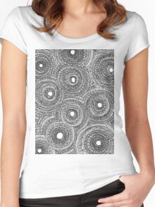 Intensely detailed drawing sort of inspired by gears Women's Fitted Scoop T-Shirt
