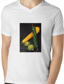 Green and yellow marrows with apples Mens V-Neck T-Shirt