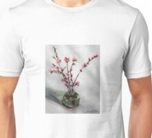 nectarine blossom in round vase Unisex T-Shirt