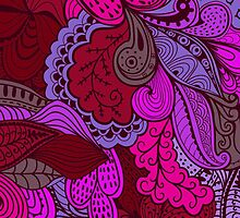 Red and Purple Paisley Pattern by Vickie Emms