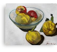 Quinces and apples glass bowl Canvas Print