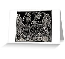 Totentanz / Dance of macabre - white print Greeting Card