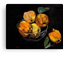 Quinces in bowl on black background Canvas Print
