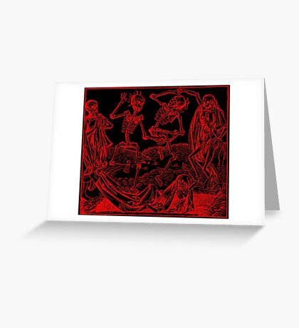 Totentanz / Dance of macabre - red print Greeting Card