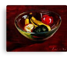 Fruit bowl on brown Canvas Print