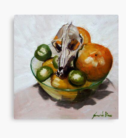Tuty fruity dog in bowl Canvas Print