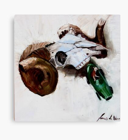 Ram with toy racing car driven by cow Canvas Print