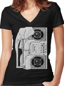 Record Store Day : Elephant Loves Music Style Women's Fitted V-Neck T-Shirt