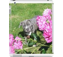 Gorgeous Baby Pit Bull Puppy Dog in Peony Flowers iPad Case/Skin