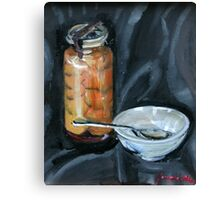 preserved apricots  with bowl and spoon Canvas Print