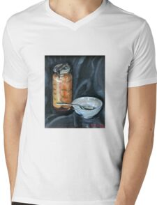 preserved apricots  with bowl and spoon Mens V-Neck T-Shirt