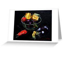 beautiful vegetables on black     Greeting Card
