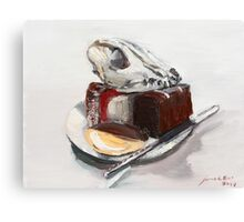 Dog on lamington chocolate cake and nemish tart     Canvas Print