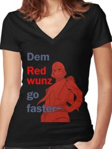 Quotes and quips - dem red wunz - Char Women's Fitted V-Neck T-Shirt