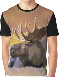 Autumn Bull Moose Art Print Graphic T-Shirt
