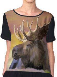 Autumn Bull Moose Art Print Chiffon Top