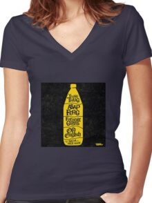Old English Women's Fitted V-Neck T-Shirt
