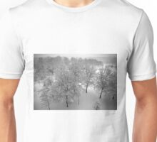 Looking down on snowy trees Unisex T-Shirt