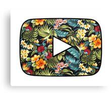 Floral Youtube Logo Canvas Print