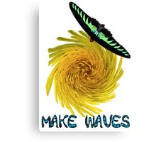 Inspirational Vibrant Butterfly Sunny Yellow Flower Make Waves Canvas Print
