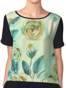Watercolor seamless floral pattern. Roses. Chiffon Top