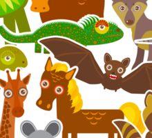 Cartoon animals on beige Sticker