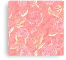 Watercolor seamless floral pattern. Roses.  Canvas Print